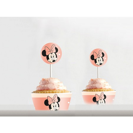Kit cupcakes Minnie rose pale à imprimer