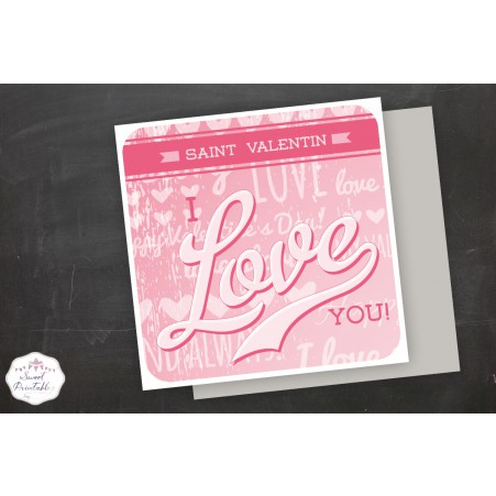 Carte I Love You Saint Valentin a imprimer soi-même
