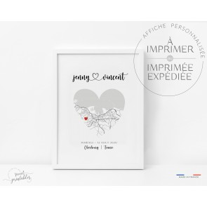 Affiche plan – carte de ville forme coeur couple
