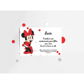 Invitation minnie rouge à pois à imprimer