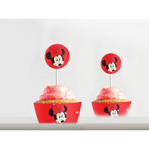 Kit cupcakes Minnie rouge à pois à imprimer